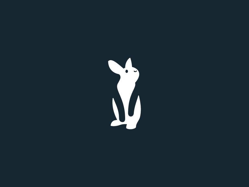 Rabbit bunny rabbit clean flat minimal simple logo mark symbol negative identity