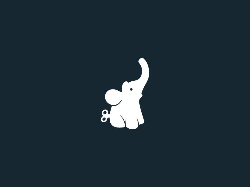 Baby elephant toy baby elephant clean toy icon simple logo mark symbol negative identity