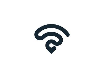 Hotspot connection wireless wifi map symbol pin network mark logo internet identity icon