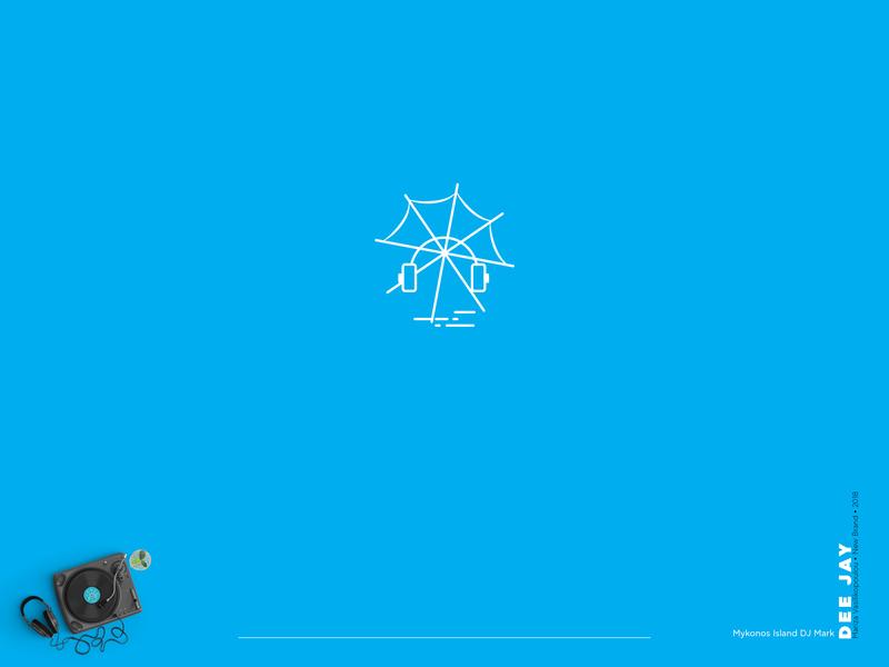 Mykonos Dee Jay Logo design icon mark logodesign blue greek island musician music brandidentity branding design brand identity brand design branding logotype design logotypedesign logos logo design logotype logo