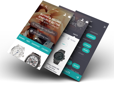 Ecommerce App for Buying and Selling Jewelry material design ecommerce iphone
