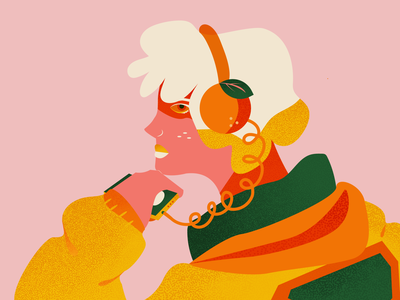 Tangerine woman girl juice fresh new inspired music to illustrate by character design character concept concept chracter profile headphones orange music flat background flat graphic design tangerine illustration