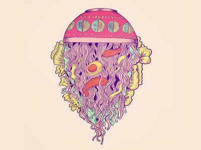 Ramen Jelly sketch doodle flat background tasty egg procreate hello world new upside down water first flat inktober 2018 muted colors food art jelly fish ramen drawing ink design illustration