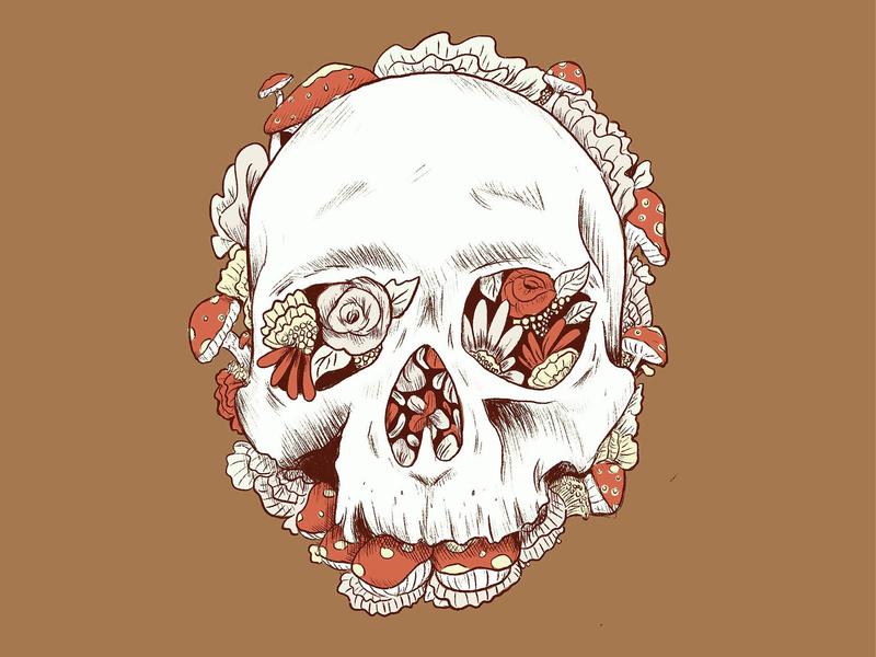 Skull Fungi heavy linework flowers art bones growing detailed hatching sketch beautiful decay fungi mushroom skull flat muted colors flat background inktober 2018 drawing ink doodle design illustration