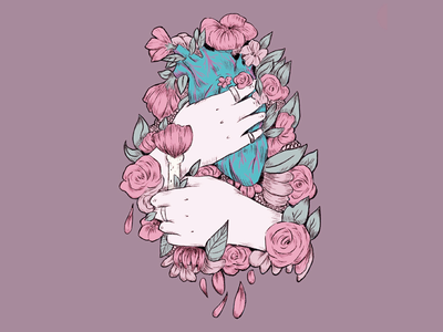 Unpopular Version of Hand Holding Flower squeeze editorial art procreate app ink art blue anatomical heart heart hand concept hand holding flower hand holding heart flower bones drawing ink flat detailed art muted colors flat background design hand
