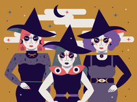 Something Wicked This Way Comes fierce halloween magician hocus pocus magic magical fall women women in illustration flat illustration halloween design halloween illustration witches witchy muted colors design flat background vector flat illustration