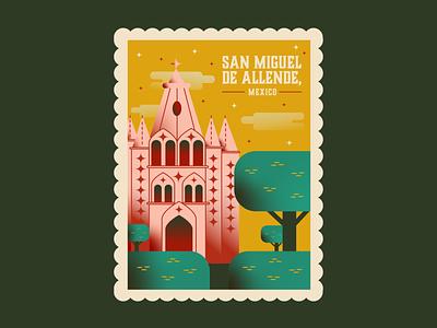 San Miguel de Allende Stamp stamped stamping dribbleweeklywarmup lets go visit traveling flatdesign flat illustration travel gothic chapel stamp design stamp mexico muted colors design illustration flat background
