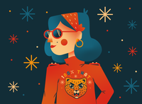 100% Thankful dribbbleweeklywarmup fierce woman portrait women in illustration thankful cheetah woman lizzo woman illustration women empowerment doodle growing vector flat illustration design bright color combinations detailed flat background flat illustration