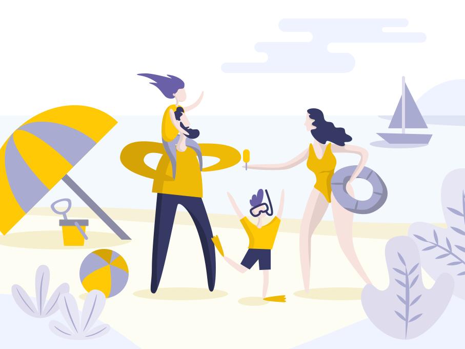 Beach Family sketch vector ui illustration