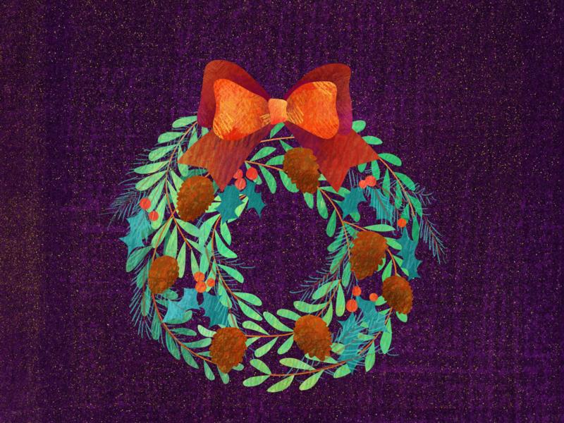 Holiday wreath acorns leaves everygreen chenliu.design chen design holiday wreath happy holidays design graphic brush sketch illustration