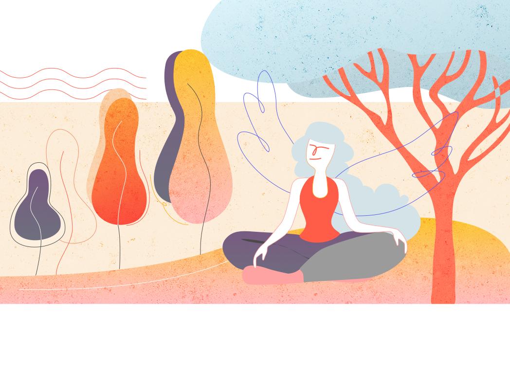 Meditation relaxing character brush vector tree meditation meditating sketch design illustration design illustration illustration art