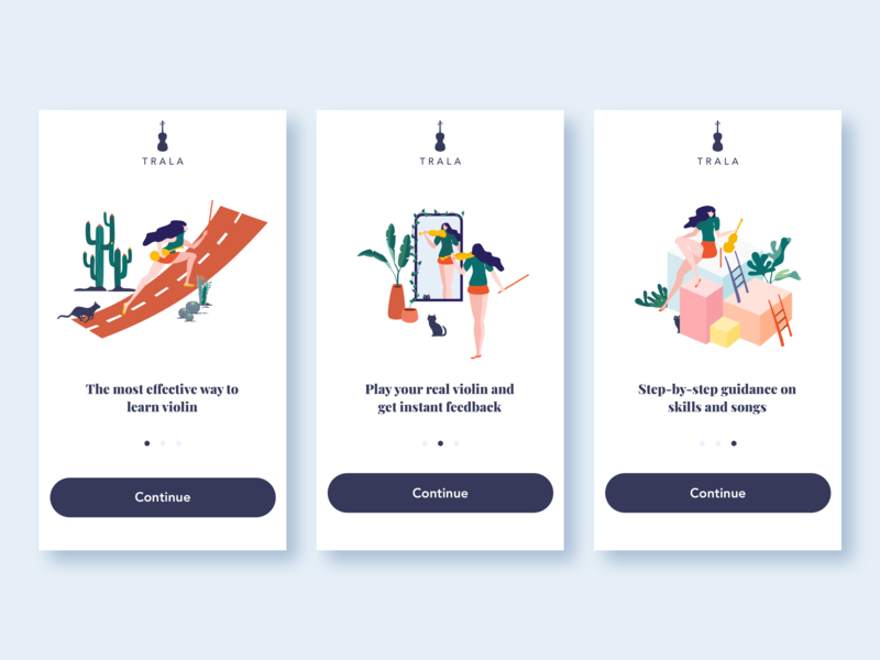 On Boarding instant feedback effective learning digital vector splashpage onboarding screens onboarding ios app illustration sketch uidesign ui violinist violin learn violin tralaapp trala