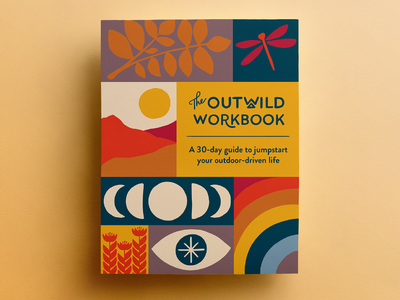 The Outwild Workbook cover cover art leaves rainbow dragonfly moon moons lettering handlettering illustration design book design outdoors