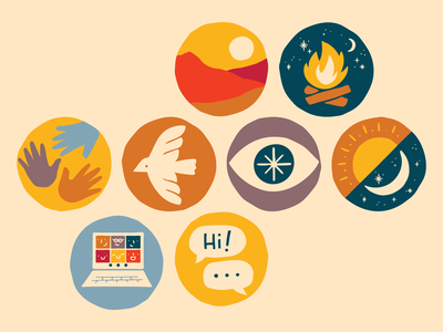 Outwild Illustrations badges icons sunset mountains mindset remote conversation computer bird hands illustration moon sun campfire outdoors