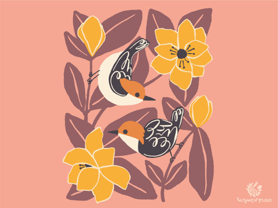 Nuthatch + Magnolias magnolia flowers nuthatch birds handdrawn design illustration