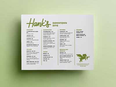 Hank's Menu bar restaurant layout lettering handlettering logo logo design flying dog dog design menu