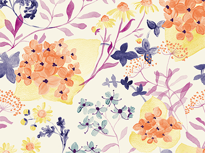 Botanical Pattern illustration repeat spring flowers watercolor floral pattern