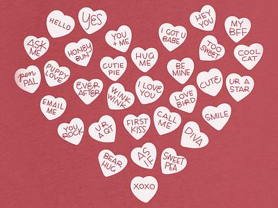 Sweet Talk candy hearts valentine valentines day tshirt design illustration typography handlettering