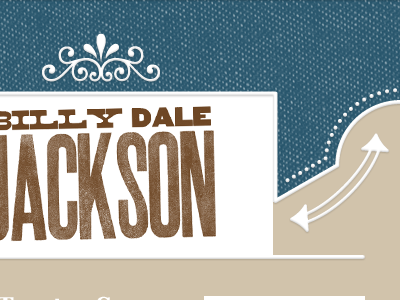 Billy Dale Jackson template wood type blue brown white western country dotted arrows music photoshop e-mail fabric