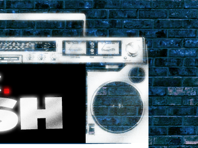 Boom hip-hop e-mail template photoshop blue white black red boombox spraypaint graffiti brick