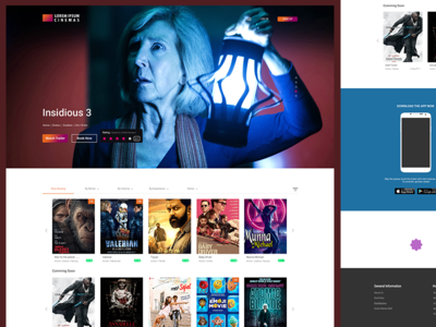 Joh-Cinemas chennai. website design web design booking app landing page creative design web app cinema booking movie booking