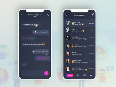 Dark theme for JustChat mobile application