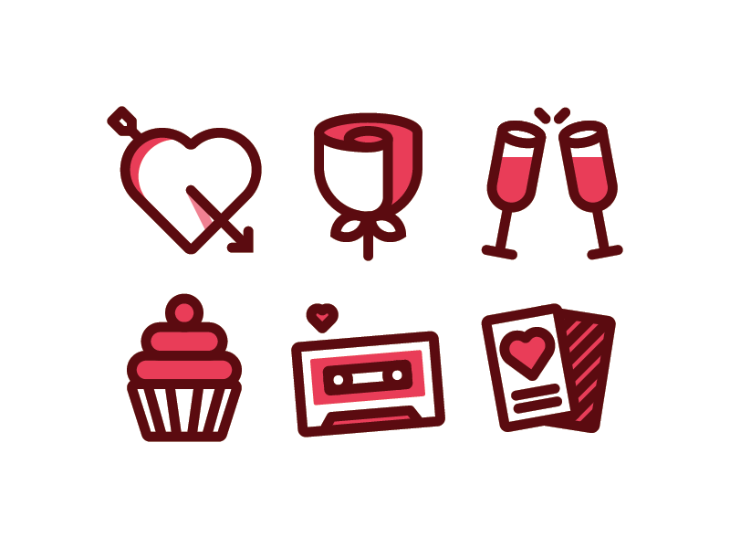 Valentines Day Icons card mixtape cupcake glass rose arrow heart illustrator vector valentines day icons design