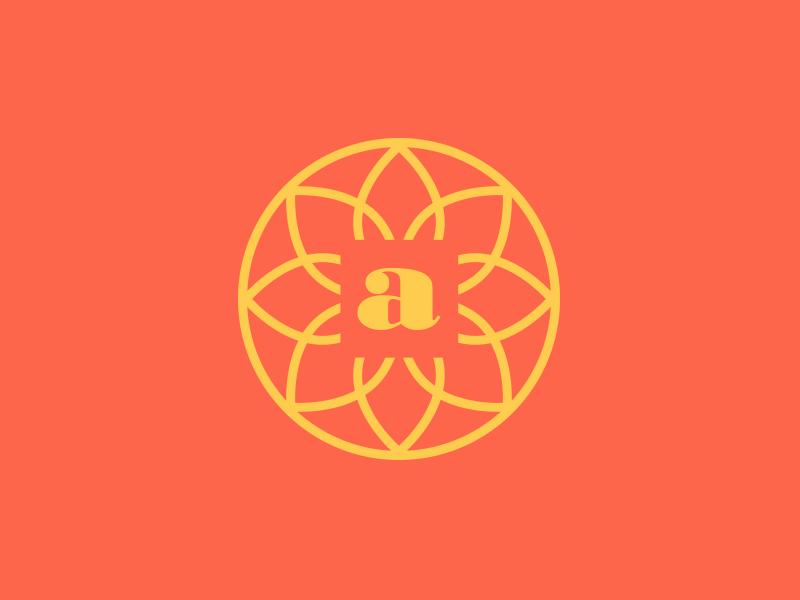 Flower Mark flower branding a radial circular bright vibrant icon logo