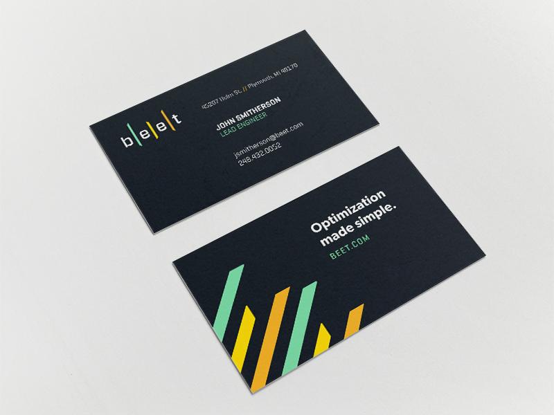 b|e|e|t automotive technology tech analytics concept print business card branding