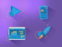 3D Flat Icon Set