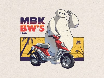 Baymax X MBK Bw's 1988 yellow white textured beach robot disney bighero6 baymax photoshop truegritexturesupply texture digitalart digitaldrawing summer summervibes scooter mobylette anime manga illustration