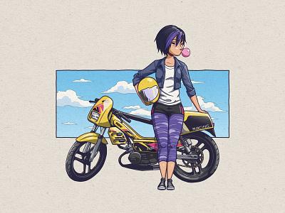 Gogo X MBK Magnum Racing 1995 woman motor biker bike racing magnum purple pink blue yellow cyclo photoshop truegrittexturesupply manga illustration moped