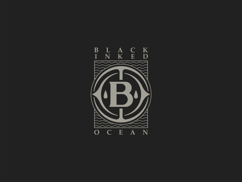 Black Inked Ocean band waves circle merchandising merch design print branding grey badge design geometric logo monogram band design typography vector illustrator logo icon black design