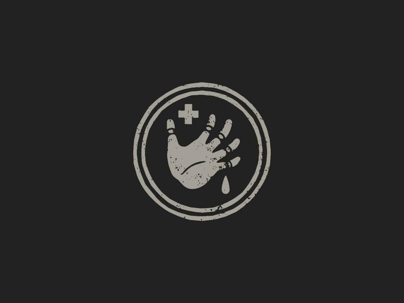 L'Ambulancier simple design adobe texture drop cross badge design circles hand illustration print grey branding vector illustrator logo icon black design