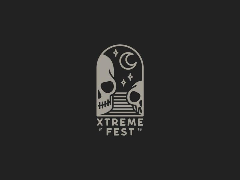 Xtreme Fest 2018 stars moon skull badge logo simple shapes printing communication festival merchandising tshirt design tshirt print grey branding vector illustrator logo icon black design