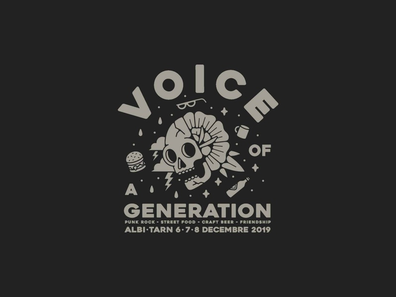 Voice Of a Generation voice tattoo design poster design event communication beers flowers skull festival poster artwork typography illustration branding grey vector illustrator logo icon black design