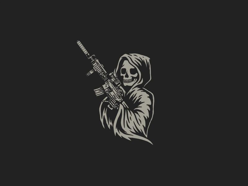 The Reaper merchandising artwork illustration print branding grey icon logo black design