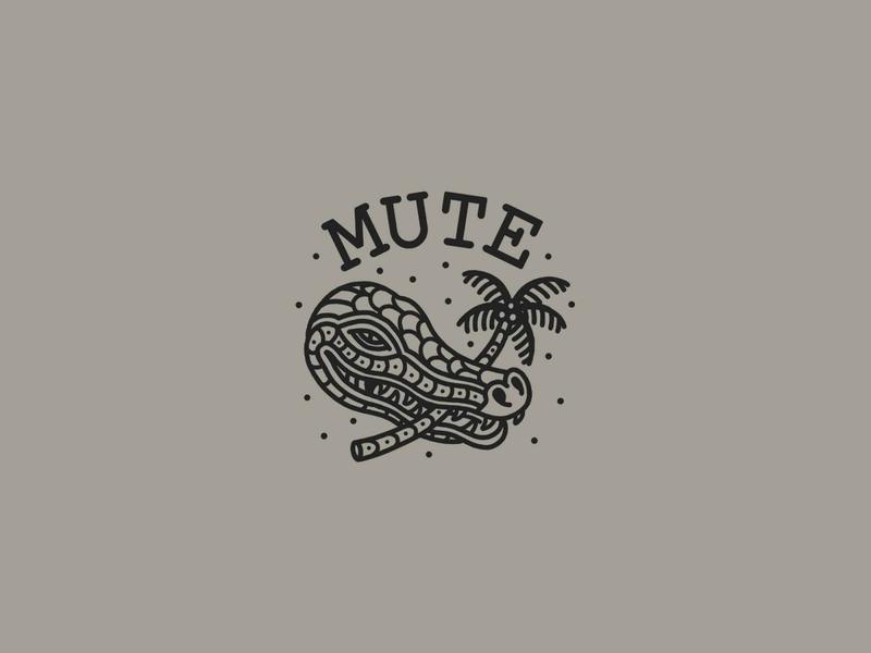 Mute Crocodeal badge design tattoo lineart lines plam tree crocodile tshirt design merch mute vector illustration print branding illustrator grey icon logo black design