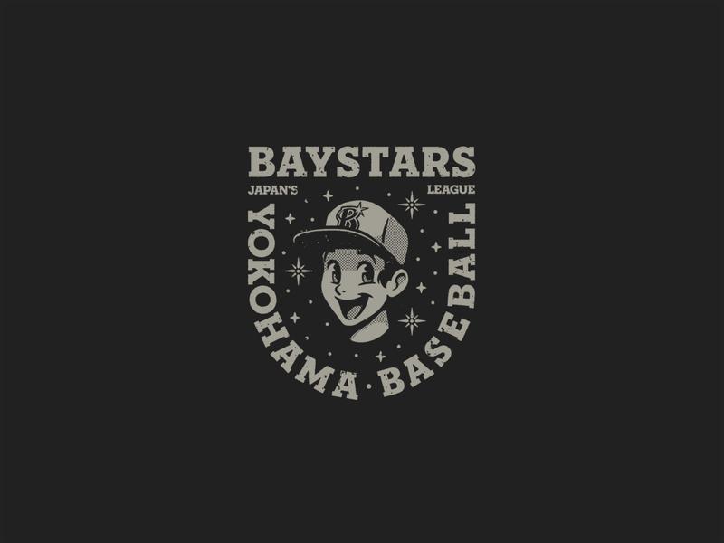 Baystars tokyo badge logo font baseball player boy manga cap baystars stars baseball japan artwork merchandising illustration branding icon black design grey logo