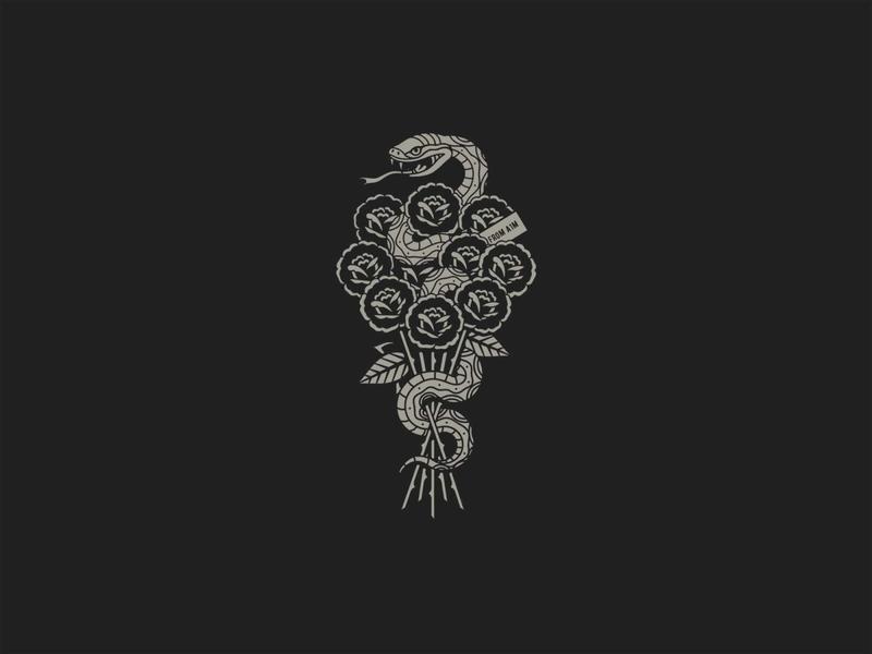 As One Man as one man graphic design modern design tatto design snake rose tattoo print grey illustrator illustration icon vector logo black band artwork artwork design
