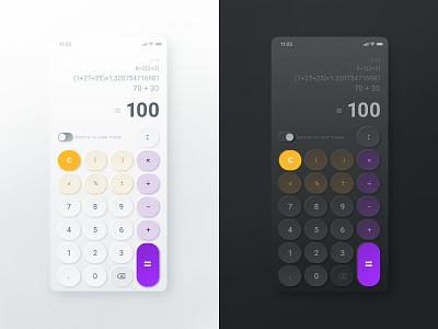 #Design for #DailyUi #Day004 #Calculator light theme light dark theme dark app dark ui app design ui ux web calculator calculator ui calculator app counter buttons button design calc calculate
