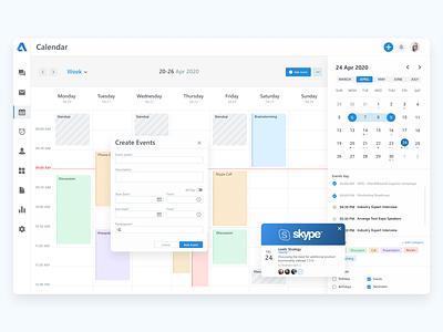 CRM (Calendar board) create event ui interface software design crm skype notice event calendar