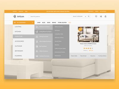 Home Decor (Site menu) renovation webdesign ui ux design web home decoration home decor home menu card menu bar menu menu design