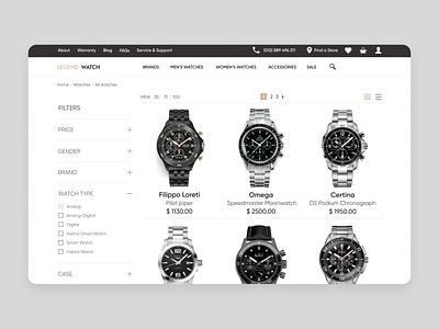 Legend Watch [Catalog Page] omega rado certina sale accessories e-commerce website brands store shop e-comerce watch design webdesign watchface watches watch ux ui web