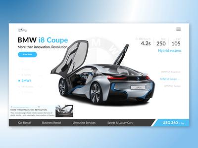 Rent Cars bmw i8 rent car rentals cab booking car vector logo design ux