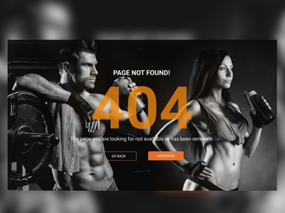 Fintess Club (web ver) fitness web figma ui design bw 404 workout gym ios ux
