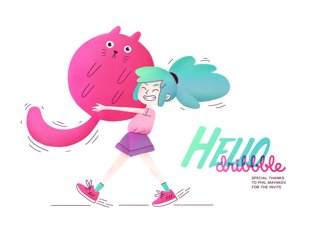 Hello dribbble! cat ball digital art photoshop girl character girl illustration character girl gang illustration hello dribbble first shot debut shot debut