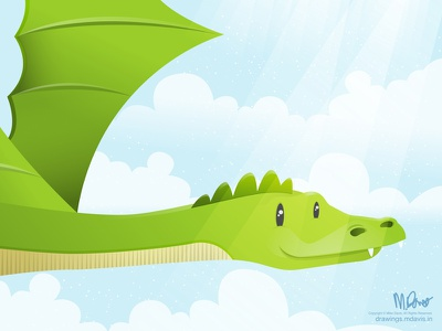 Dragon Rider - WIP inkpad vector illustration dragon clouds