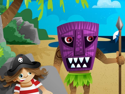 Silent illustration vector inkpad water tiki pirate childrens book