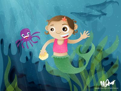 Mermaid Laingston octopus mermaid underwater vector illustration for kids poster inkpad